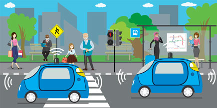 connected vehicles and pedestrians