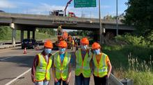 MnDOT interns at a bridge site