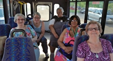 Older adult women on a bus