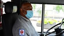 Metro Transit driver wearing a medical mask